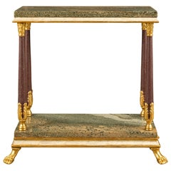 Italian 19th Century Neoclassical Marble and Giltwood Side Table