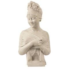 Italian 19th Century Neoclassical St. Carrara Marble Bust of Juliette Recamier