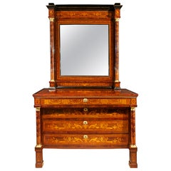 Italian 19th Century Neoclassical St. Fruitwood Inlay Chest and Mirror