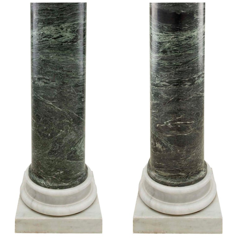 Italian 19th Century Neoclassical Style Green Marble Columns For Sale