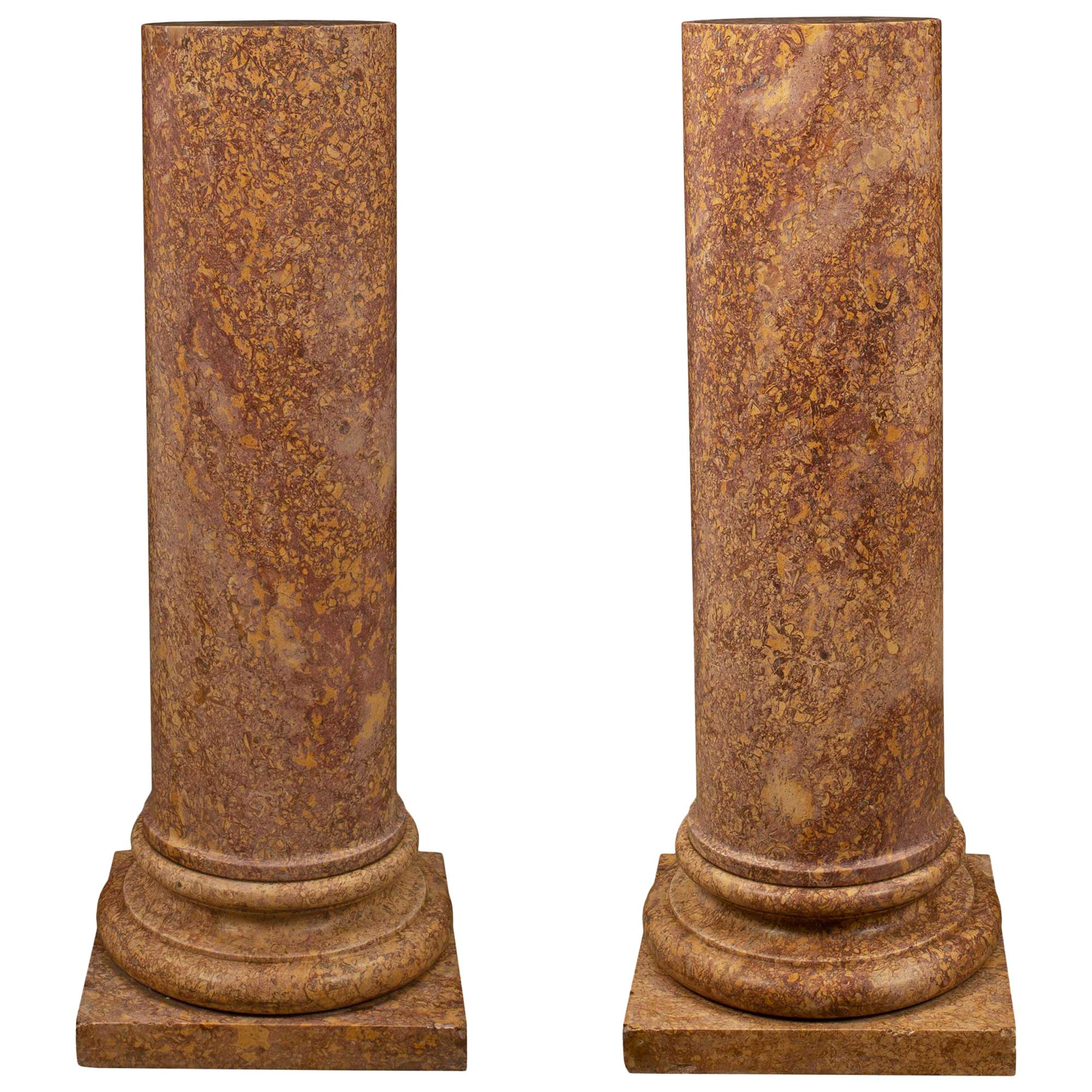 Italian 19th Century Neoclassical St. Marble Pedestal Columns