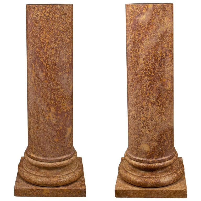 Italian 19th Century Neoclassical St. Marble Pedestal Columns For Sale