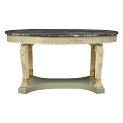 Italian 19th Century Neoclassical St. Patinated and Marble Oval Center Table