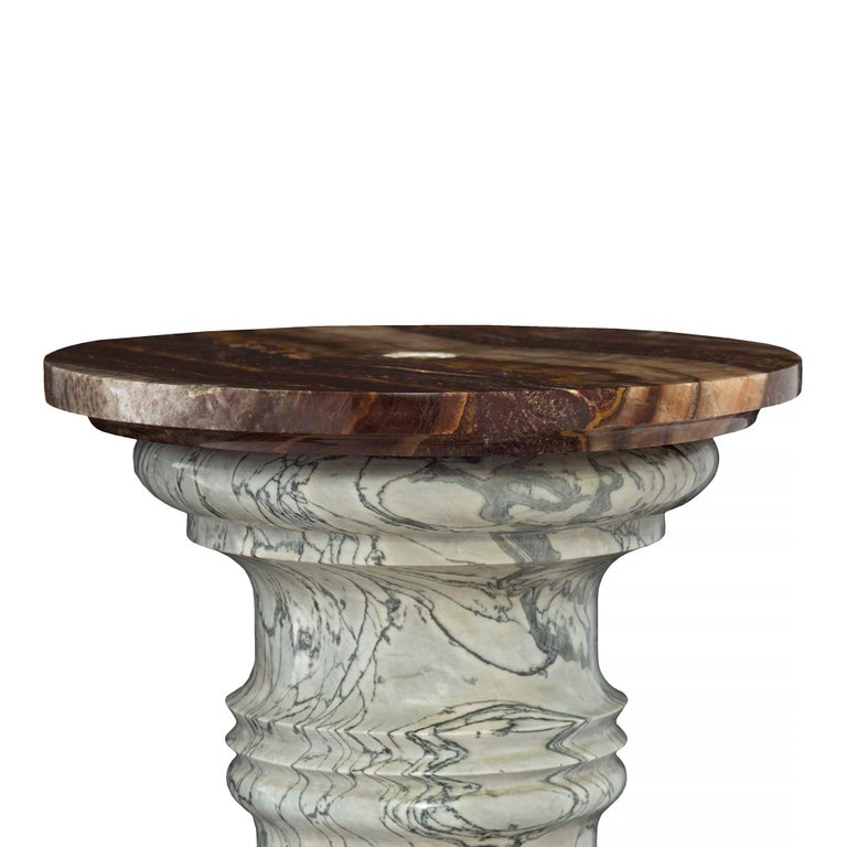 Italian 19th Century Neoclassical Style Marble and Onyx Pedestal Column In Excellent Condition For Sale In West Palm Beach, FL