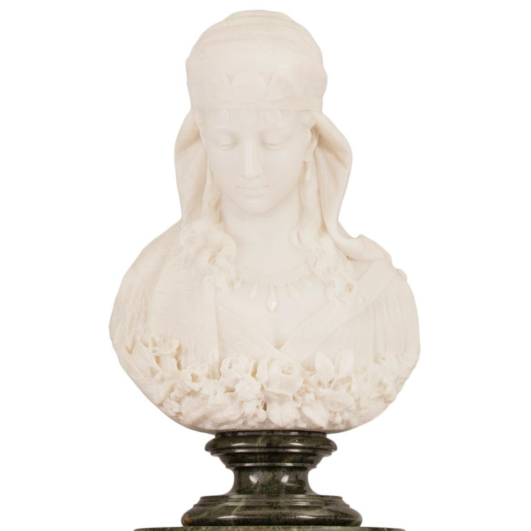Italian 19th Century Neoclassical Style Marble Bust Named La Sulamitide For Sale 12