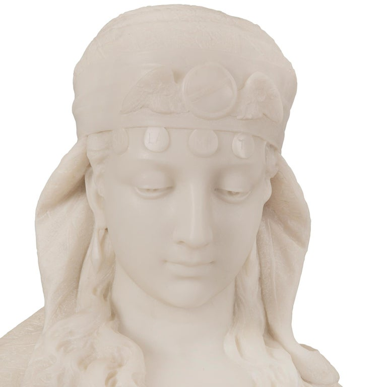 Italian 19th Century Neoclassical Style Marble Bust Named La Sulamitide For Sale 2