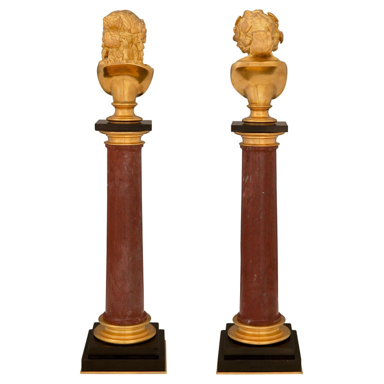 Italian 19th Century Neoclassical Style Ormolu and Marble Columns with Busts For Sale 6