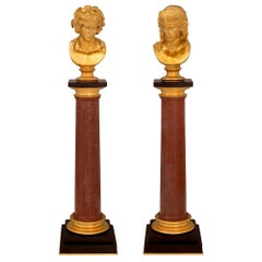 Italian 19th Century Neoclassical Style Ormolu and Marble Columns with Busts