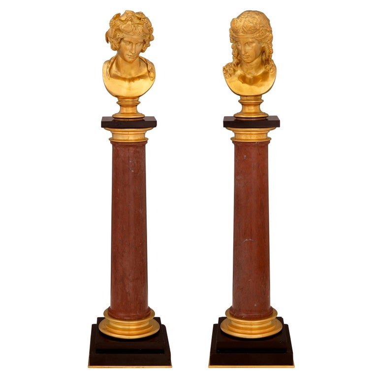 Italian 19th Century Neoclassical Style Ormolu and Marble Columns with Busts For Sale