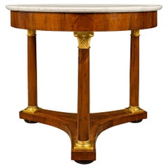 Italian 19th Century Neoclassical Style Walnut and Marble Center Table