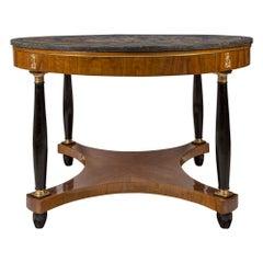 Italian 19th Century Neoclassical Style Walnut & Ebonized Fruitwood Center Table