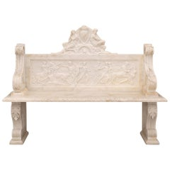 Italian 19th Century Neoclassical Style White Carrara Marble Bench