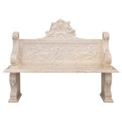Italian 19th Century Neoclassical Style White Carrara Marble Bench