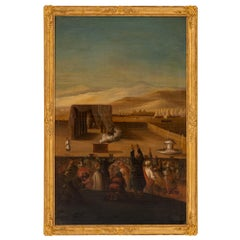 Italian 19th Century Oil on Canvas Painting in Its Original Giltwood Frame