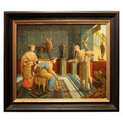 Italian 19th Century Oil on Canvas Painting Neoclassical Pompeian Interior Scene