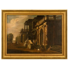 Italian 19th Century Oil on Canvas Painting of a Beautiful Country Estate