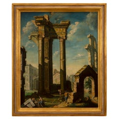 Italian 19th Century Oil on Canvas Painting of Ruins and Figures