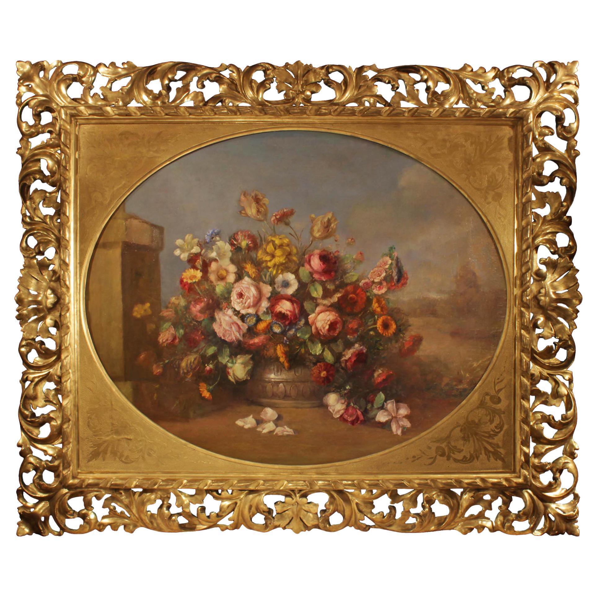 Italian 19th Century Oil on Canvas Still Life Painting
