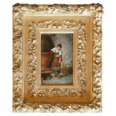 Italian 19th Century Oil Paint on Board Girl and Cat Original Frame