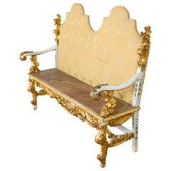 Italian 19th Century Ornately Carved Seat, 20th Century