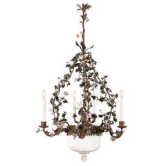Italian 19th Century Painted and Gilt Metal Chandelier