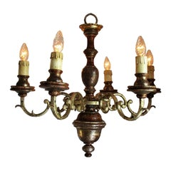Rustic Italian 19th Century Painted Silver Gilt Iron 6-Arm Chandelier