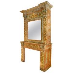 Italian 19th Century Painted Solid Oak Fireplace