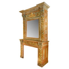 Italian 19th Century Painted Solid Oak Fireplace