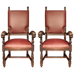 Italian 19th Century Pair of Dark Oak and Leather Armchairs