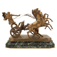 Italian 19th Century Patinated Bronze and Marble Sculpture Signed Vanetti