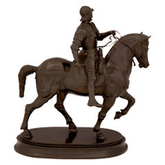 Italian 19th Century Patinated Bronze Statue of a Nobleman on His Horse