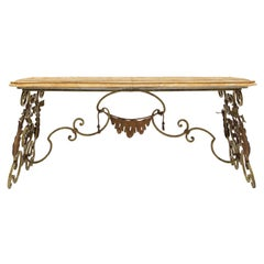 Italian 19th Century Patinated, Gilt Metal and Onyx Coffee Table