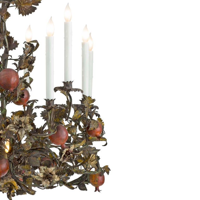 Italian 19th Century Patinated Iron and Pressed Metal Ten-Light Chandelier In Excellent Condition For Sale In West Palm Beach, FL