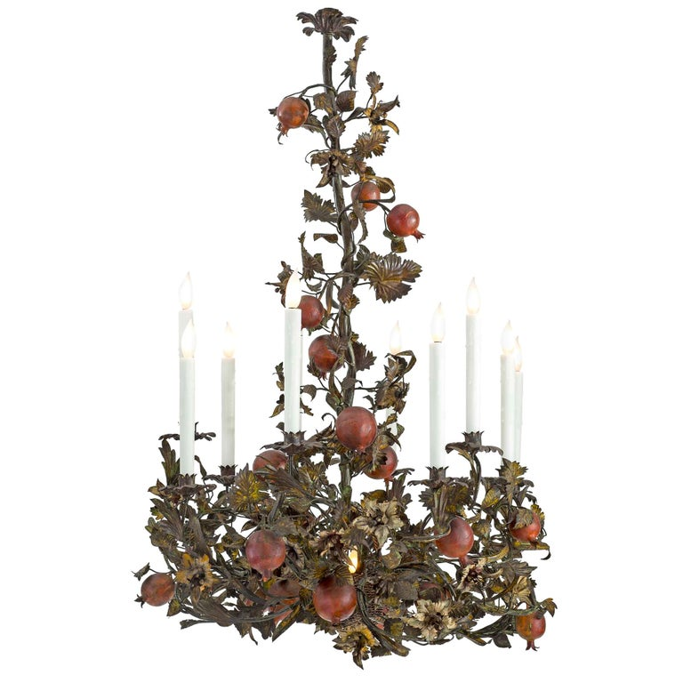 Italian 19th Century Patinated Iron and Pressed Metal Ten-Light Chandelier For Sale