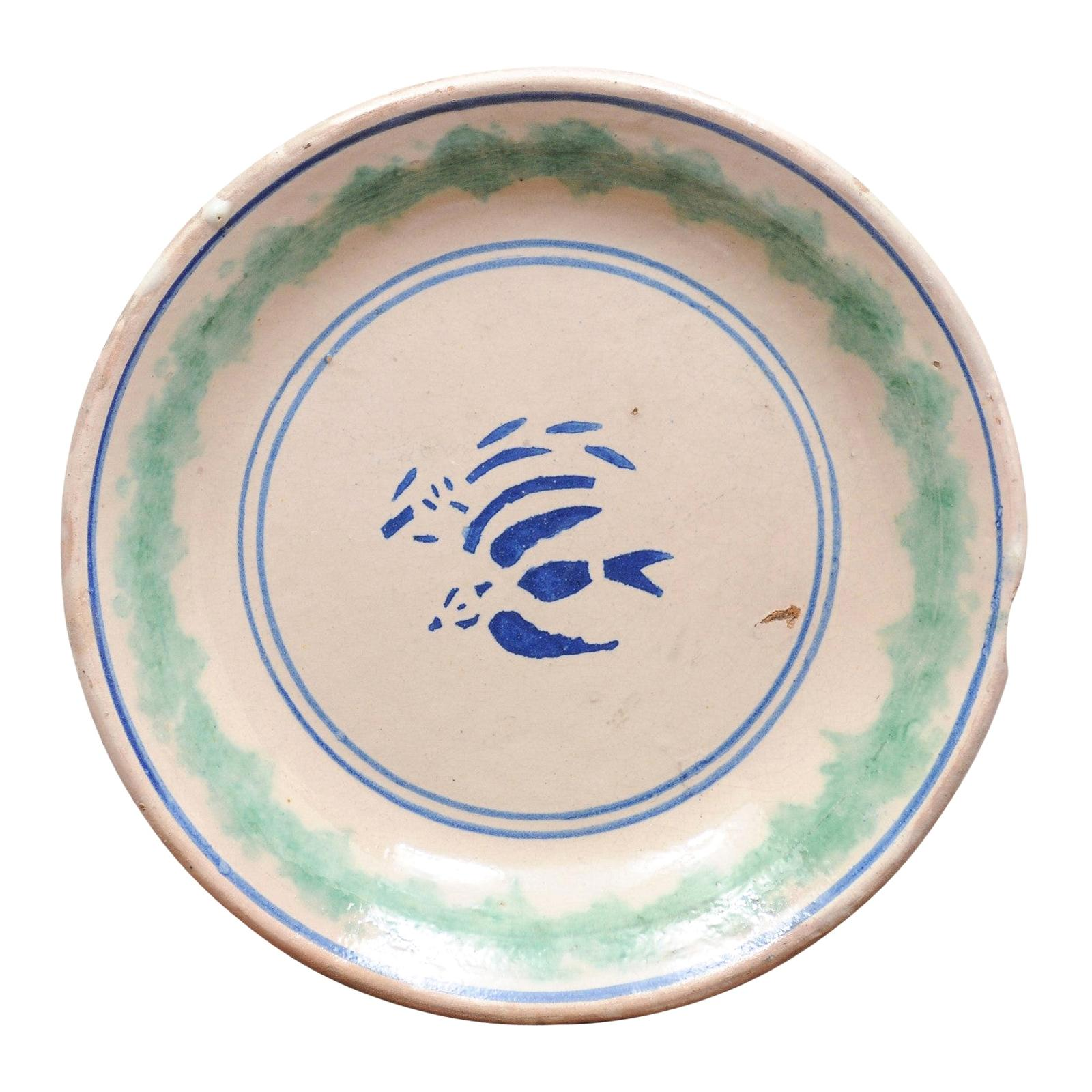 Italian 19th Century Plate with Stylized Blue Bird Motifs and Green Accents