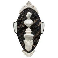 Italian 19th Century Portoro and White Carrara Marble Wall-Mounted Crest