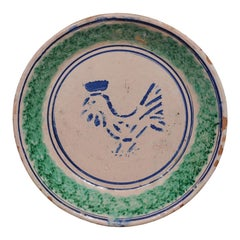 Italian 19th Century Pottery Plate with Blue Stylized Rooster and Green Accents