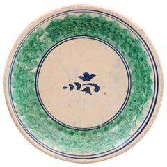 Italian 19th Century Pottery Platter with Navy Blue Stylized Foliage Motif