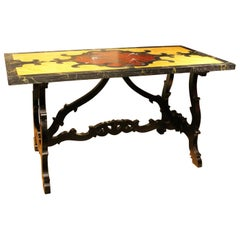 Italian 19th Century Rectangular Faux Marble Table and Lyre Stretcher Black Base