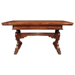 Italian 19th Century Renaissance Style Walnut Trestle Table
