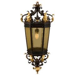 Italian 19th Century Renaissance Style Iron, Gilt Iron and Glass Lantern