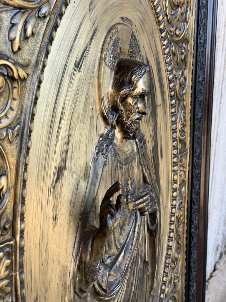 Baroque Italian 19th Century Repousse Brass Relief Panel of Christ with Carved Frame For Sale