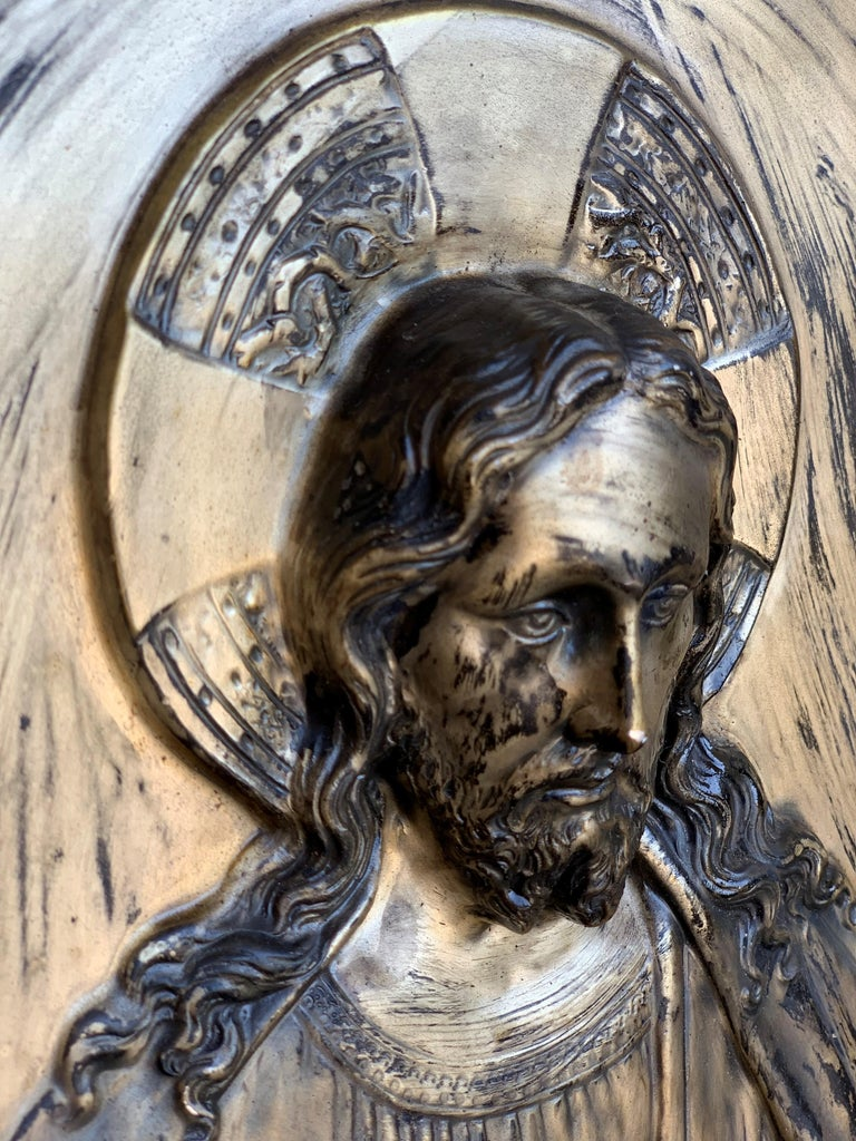 Italian 19th Century Repousse Brass Relief Panel of Christ with Carved Frame In Good Condition For Sale In Miami, FL