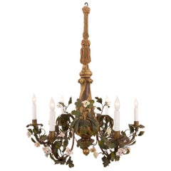 Italian 19th Century Rococo Style Six Light Chandelier