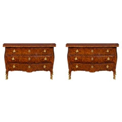 Italian 19th Century Rosewood Parquetry and Ormolu Three-Drawer Chests