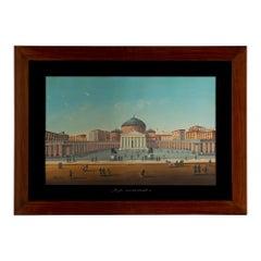 Italian 19th Century Signed Gouache, Framed within a Rectangular Mahogany Frame