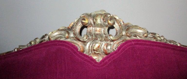Italian 19th Century Silver Gold Gilt Baroque Settee In Fair Condition For Sale In Oregon, OR