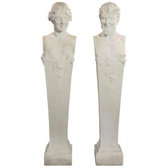 Italian 19th Century Solid White Carrara Marble Statuary of Pan and Maiden