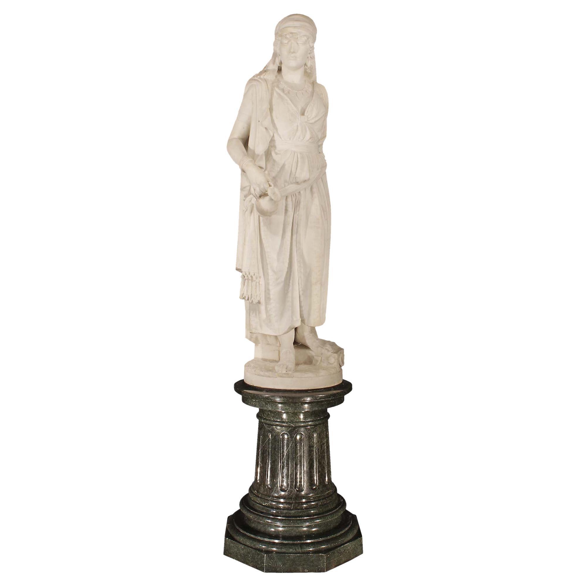Italian 19th Century Solid White Carrera Marble Jael, Signed Guglielmo Baldi