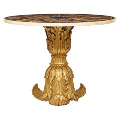 Italian 19th Century Specimen Marble and Giltwood Center Table